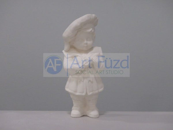 Standing Boy with Toy Ship Figurine