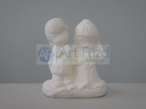 Young Child Bride and Groom Couple Figurine ~ 3.5 x 2.25 x 4.25