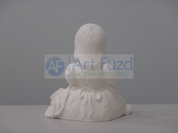 Young Girl in Lace Dress Reading Book Figurine ~ 6.5 x 6 x 6.5