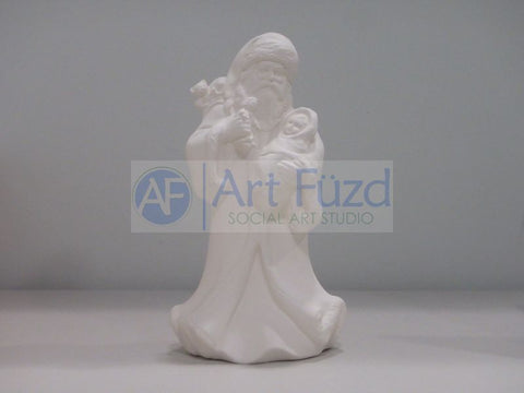 Medium Vintage Santa holding Swadled Baby and Babydoll and Sack of Toys over His Right Shoulder