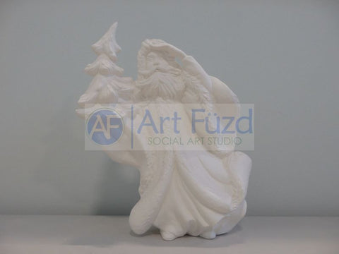 Medium Vintage Santa in Elegant Flowing Coat with Left Hand Looking Afar and Holding a Large Christmas Tree in His Right Hand Figurine ~ 8.5 x 4.5 x 10