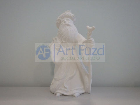 Medium Vintage Santa in Flowing Coat with Big Sleeves and Large Walking Stick in His Left Hand and Large Sack of Toys over His Right Shoulder