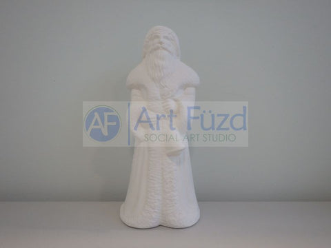 Medium Vintage Santa in Long Heavy Plain Coat with Broad Collar and Holding a Handbell in His Left Hand