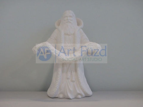 Medium Vintage Santa in Robe and Hooded Coat Holding a Large Garland with Both Hands