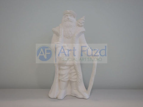 Medium Vintage Santa in Ruffled Pants with Toys in His Coat and Walking Stick in His Left Hand and Christmas Tree over His Left Shoulder