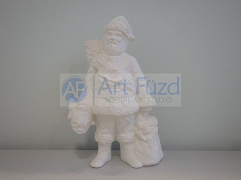 Medium Vintage Santa in Short Winter Coat and Pants and Laced Boots with Bags of Toys in Both Hands Figurine ~ 7 x 4 x 10.25
