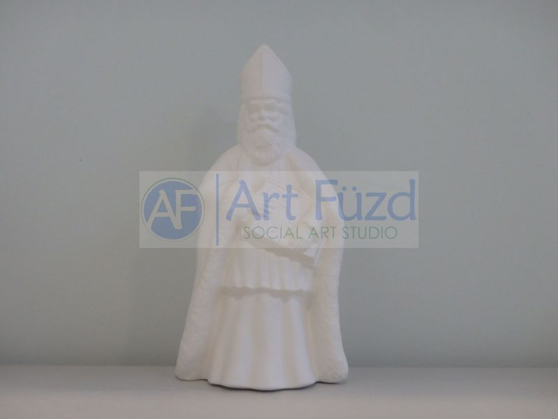 Medium Vintage Santa in Simple Triangular Hat and Holding a Large Box with Both Hands in Front