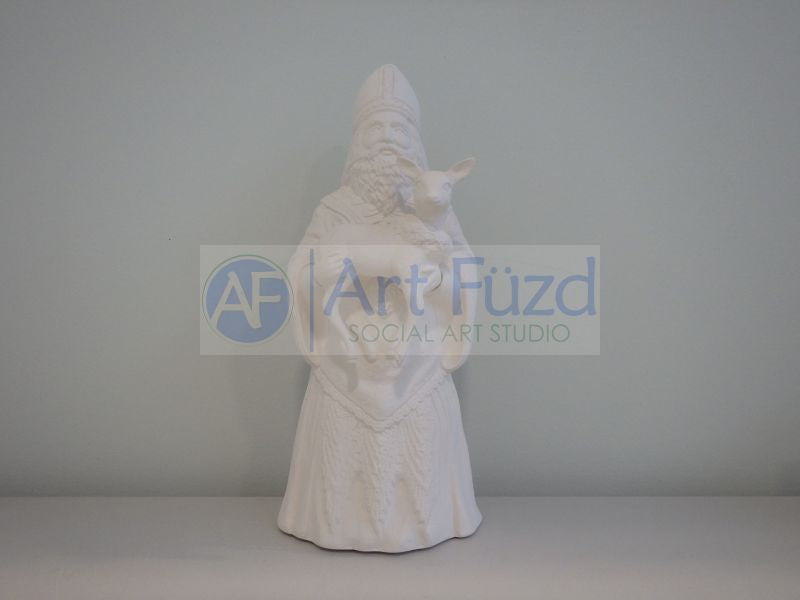 Medium Vintage Santa in Triangular Detail Coat and Hat and Holding Small Reindeer with Both Hands in Front
