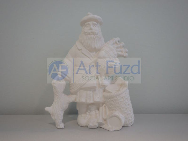 Medium Vintage Santa in Winter Coat and Boots Patting Puppy on Its Head on His Right Side