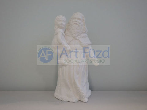 Medium Vintage Santa Wearing Mittens and Holding Young Girl on His Right Side Figurine ~ 5.75 x 4.25 x 9.5