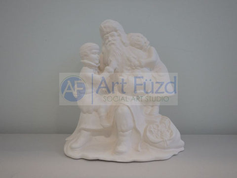 Medium Vintage Santa with Boy Sitting on His Lap and Girl Cuddling Him on His Left Side
