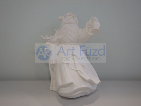 Medium Vintage Santa with Large Beard Wearing Ribboned Coat with Lantern Up in His Left Hand and His Arm Around Large Reindeer on His Right Side Figurine ~ 6.5 x 5.75 x 8.5
