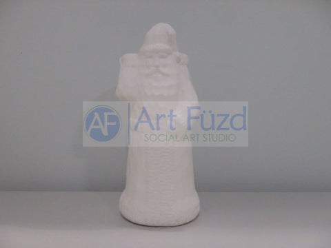 Medium Vintage Santa with Woodcut Texture and Large Open Sack Vase Behind Him