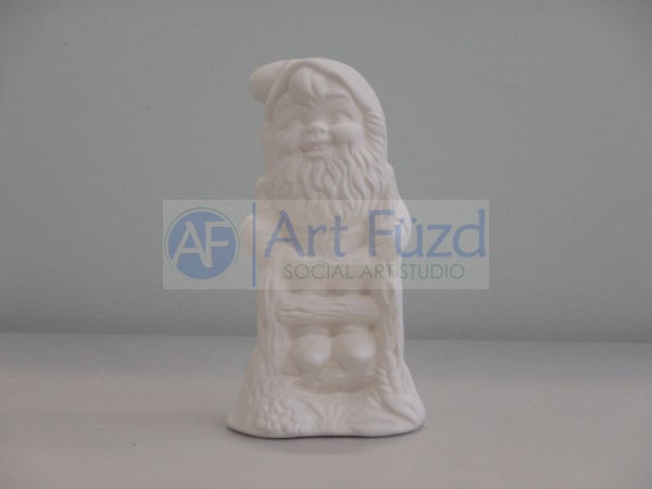 Small Gnome Seenig Climbing a Fence Post Figurine