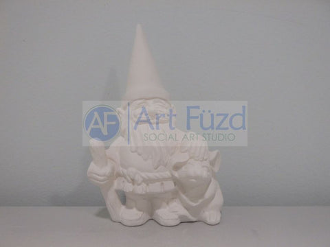 Small Gnome with Pointed Hat and Walking Stick and Mouse Figurine