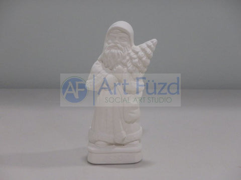 Small Santa Holding Christmas Tree Figurine