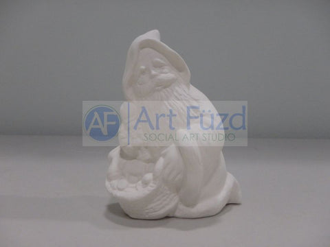 Small Santa Kneeling with Basket of Toys Figurine
