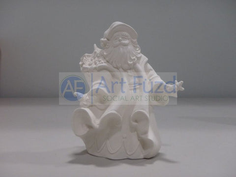 Small Vintage Santa with Elves in His Hands and Sack of Toys with A Tree over His Right Shoulder