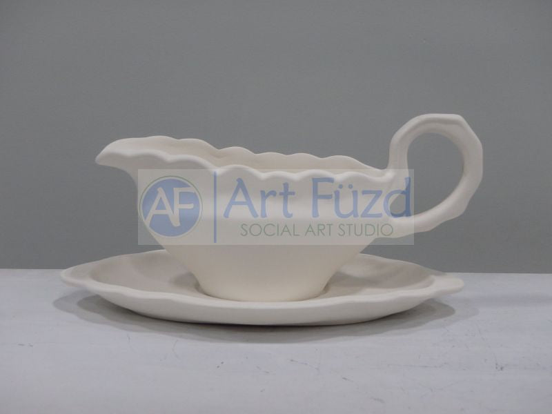 Large Gravy Boat and Saucer Set ~ 10.25 x 5.75 x 5