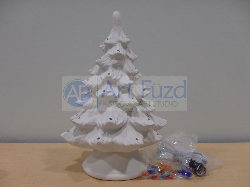 Medium Traditional Christmas Tree with Base, includes Light Kit ~ 9.5 x 14