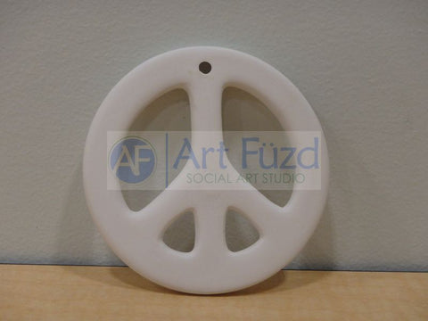 Flat Peace Sign Holiday Ornament with Hole ~ 3.5 in. dia.