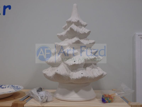 Large Traditional Christmas Tree with Base, includes Light Kit ~ 12 x 17