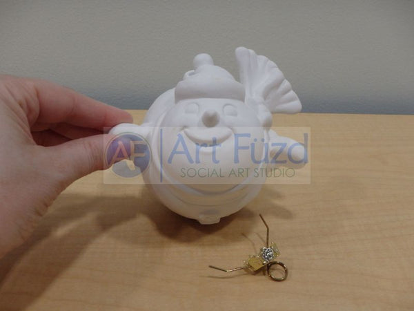 Flying Chubby Snowman Holiday Ornament, includes Hook [D] ~ 4.25 x 4