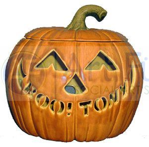 Personalized Large Jack-O-Lantern, includes Light Kit ~ 9.25 x 9.25 x 8.25 ~ One line, up to 10 letters