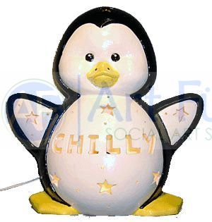 Personalized Penguin, includes Light Kit ~ 10 x 10.5 ~ Two lines, up to 6 and 8 letters