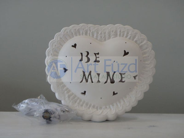 "Large Heart ""Be Mine"" Standing Plaque, includes Light Kit ~ 12 x 10"