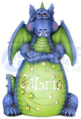 "Personalized Dragon ""Sparky"", includes Light Kit ~ 9 x 13 ~ One line, up to 7 letters"