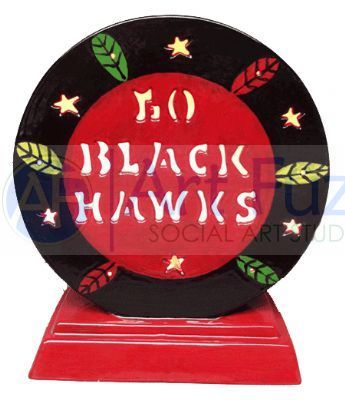 Personalized Hockey Puck, includes Light Kit ~ 10.5 x 12 ~ Two lines, up to 8 and 8 letters