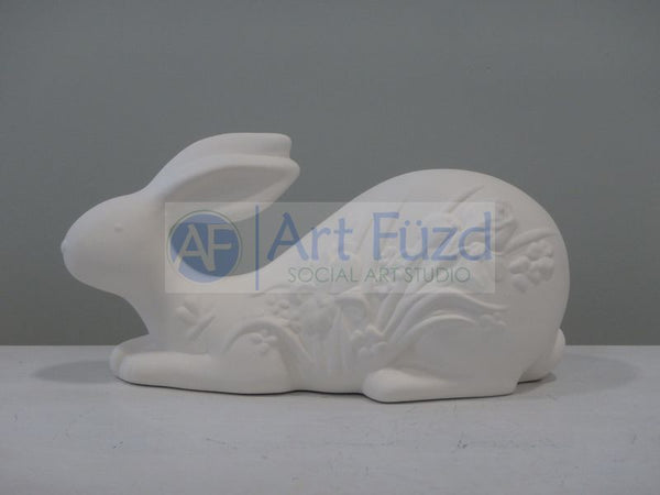 Flowered Bunny Lying Down ~ 9.5 x 4 x 5 in. high