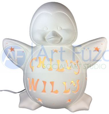 "Personalized ""Emperor"" Penguin, includes Light Kit ~ 13 x 7.5 x 13 ~ Two lines, up to 8 and 8 letters"