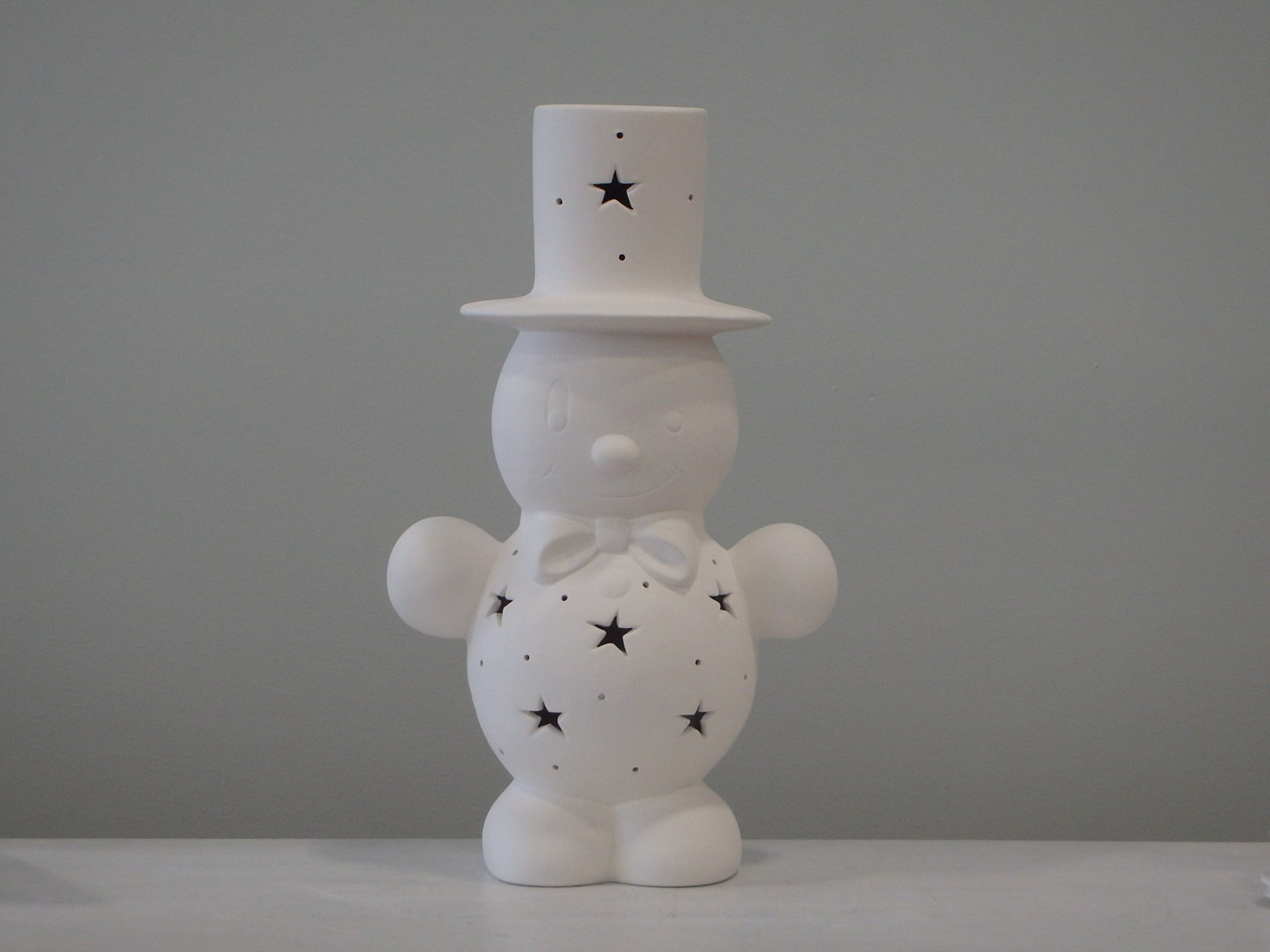 "Large ""Let It Snow"" Snowman Lantern with Stars, includes Light Kit ~ 7.5 x 5 x 14"