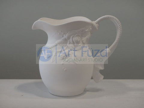 Large Elegant Rose Water Pitcher with Rope Detail ~ 10.5 x 6 x 9