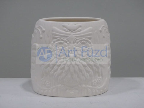 Ornate Owl and Flowers Dual-Sided Vase ~ 7 x 5 x 7