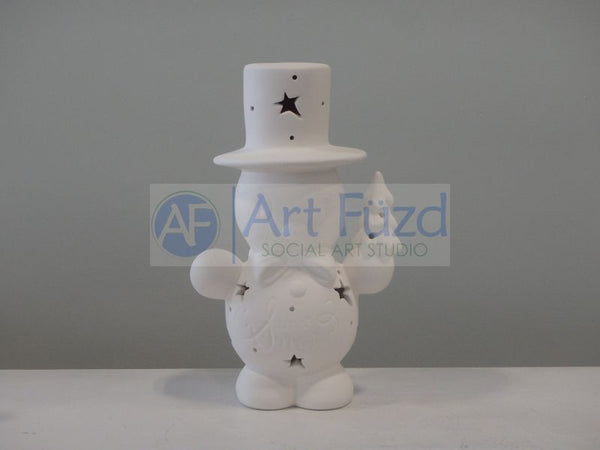 "Small ""Let It Snow"" Snowman Holding Tree Figurine ~ 5.5 x 4 x 8.5"