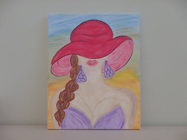 Glamour Gal with Hat - 12 x 12
