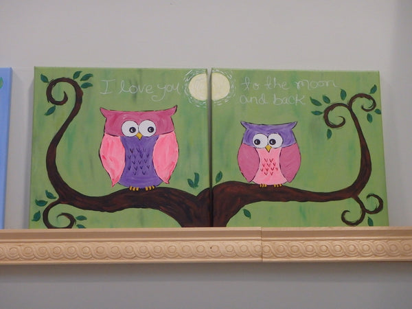 Owls Pair - 12 x 12 (Two canvas design)