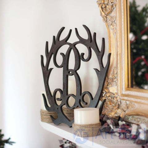 Personalized Antlers Wood Monogram ~ 17 x 18