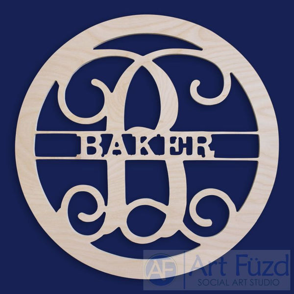 Personalized Family Name Wood Monogram ~ 22 in. dia.