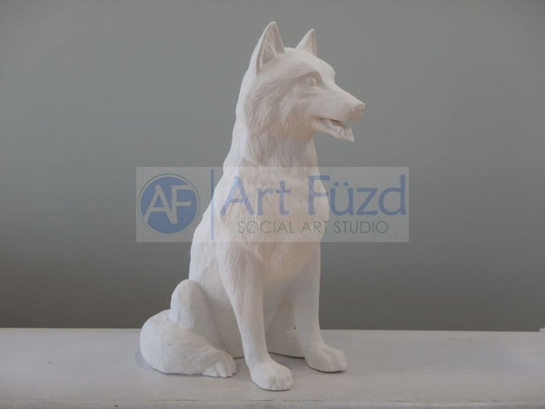 Large Sitting Wolf Figurine ~ 10 x 24