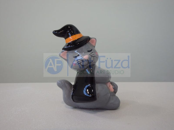 Cat in Witch Hat Ornament ~ 2.25 x 1.75 x 2.75