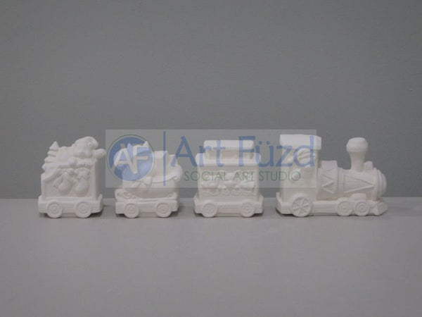 Christmas Holiday Four Piece Train Set ~ 15 x 2.5 x 3.5