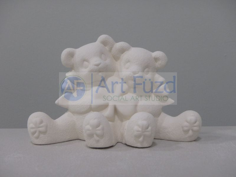 Cuddle Bear Couple holding Shamrock Figurine ~ 5.5 x 2.5 x 3.25