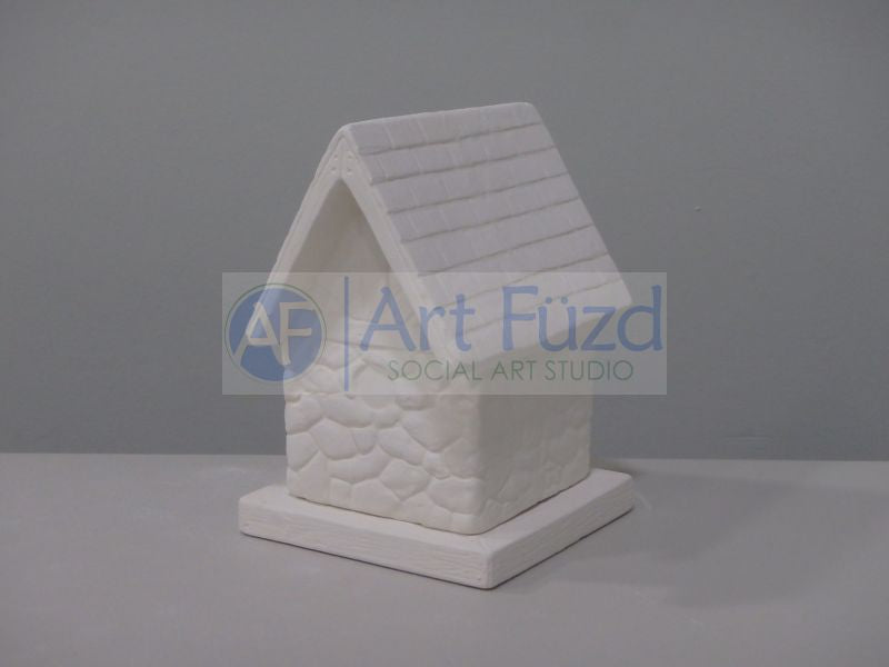 Decorative Birdhouse with Rock Sides, includes Square Base ~ 4 x 5 x 6, base 5 x 5 x 0.5