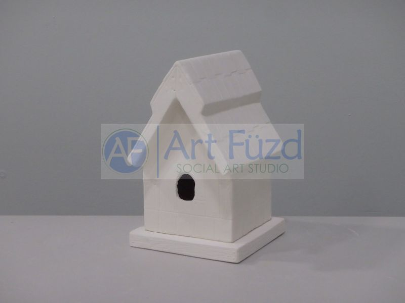 Decorative Birdhouse with Wood Sides, includes Square Base ~ 4.25 x 5.25 x 7, base 5 x 5 x 0.5