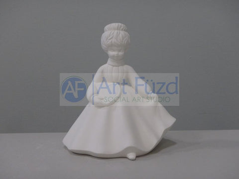 Girl with Hair Up Do in Ball Gown Holding a Heart Figurine ~ 6 x 5.75 x 6.5
