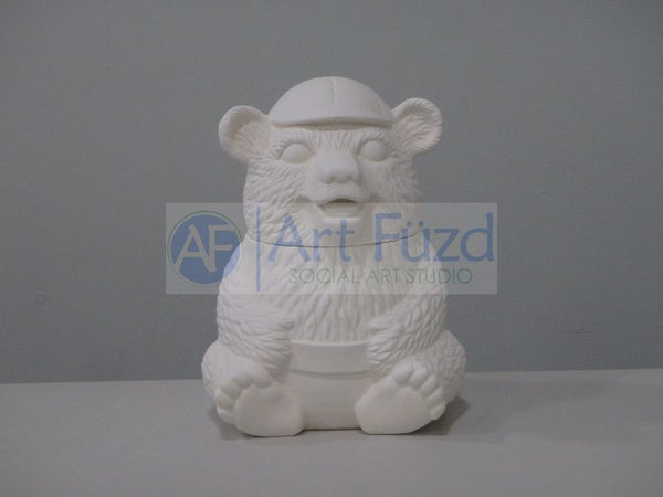 Large Bear in Baseball Cap Jar with Lid ~ 7.5 x 7 x 9